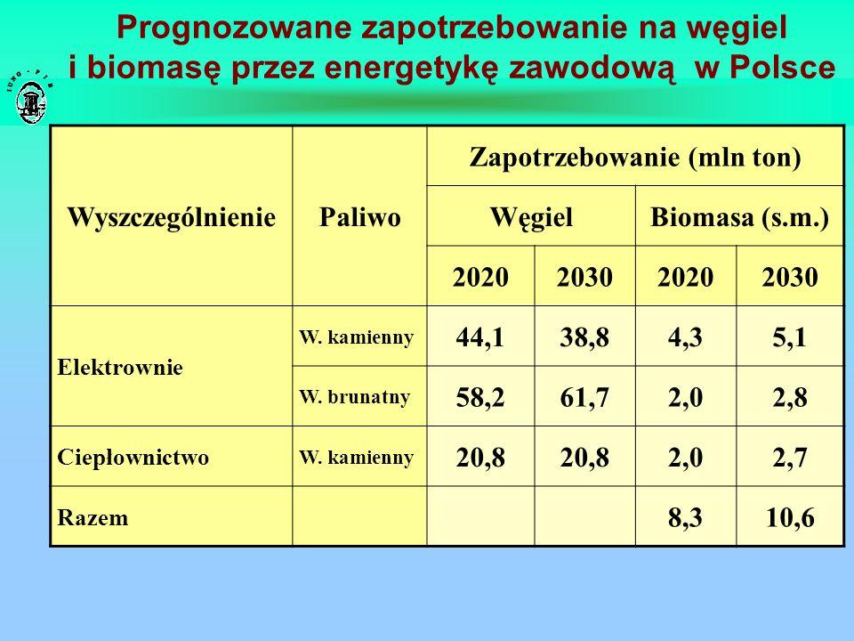 Prognozowane zapotrzebowanie na węgiel i biomasę przez energetykę zawodową w Polsce WyszczególnieniePaliwo Zapotrzebowanie (mln ton) WęgielBiomasa (s.
