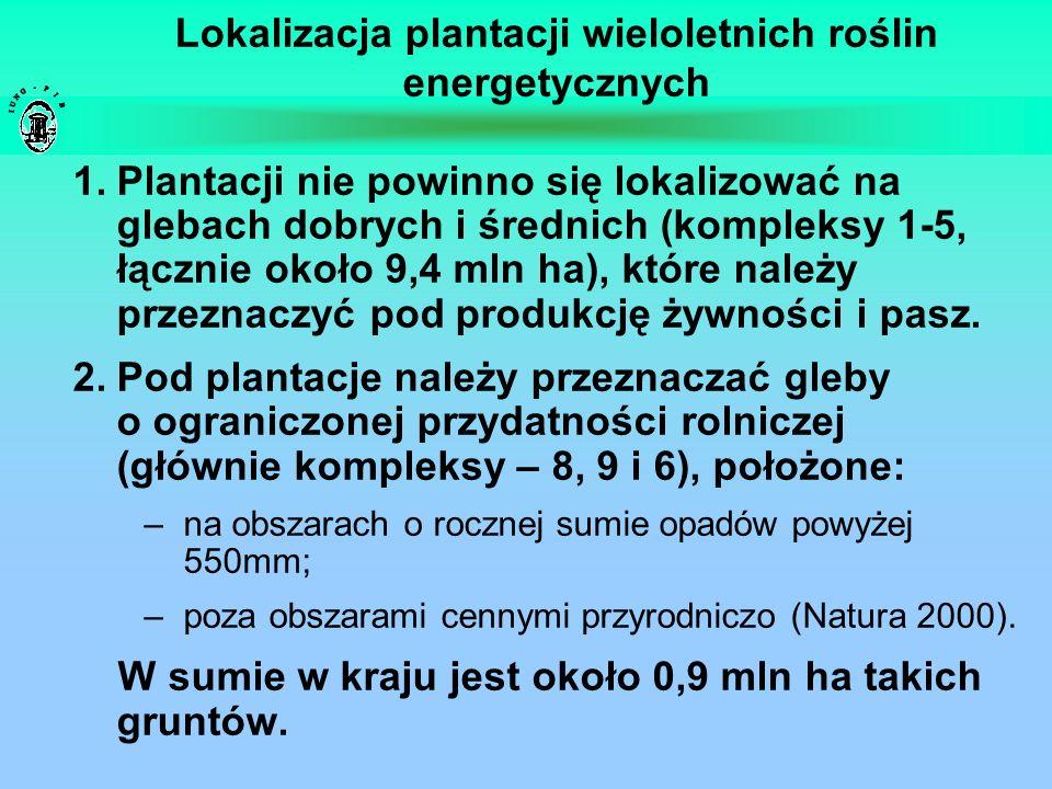 Lokalizacja plantacji wieloletnich roślin energetycznych 1.Plantacji nie powinno się lokalizować na glebach dobrych i średnich (kompleksy 1-5, łącznie