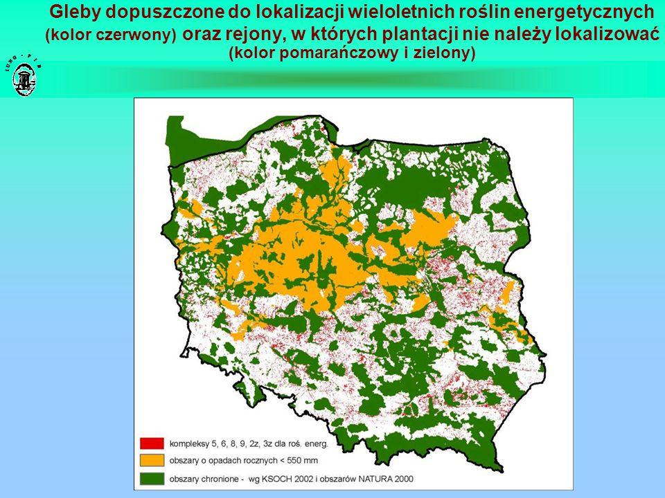 Gleby dopuszczone do lokalizacji wieloletnich roślin energetycznych (kolor czerwony) oraz rejony, w których plantacji nie należy lokalizować (kolor po