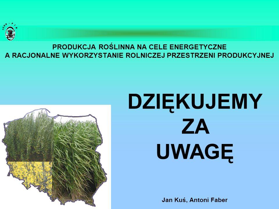 PRODUKCJA ROŚLINNA NA CELE ENERGETYCZNE A RACJONALNE WYKORZYSTANIE ROLNICZEJ PRZESTRZENI PRODUKCYJNEJ Jan Kuś, Antoni Faber DZIĘKUJEMY ZA UWAGĘ