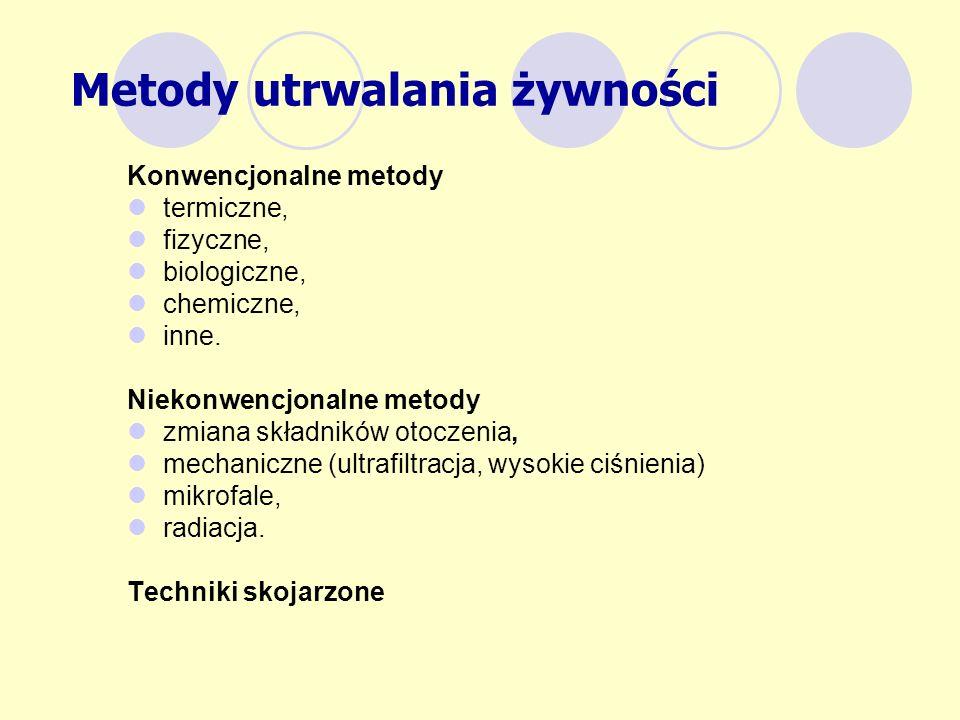 Metody utrwalania żywności Konwencjonalne metody termiczne, fizyczne, biologiczne, chemiczne, inne. Niekonwencjonalne metody zmiana składników otoczen