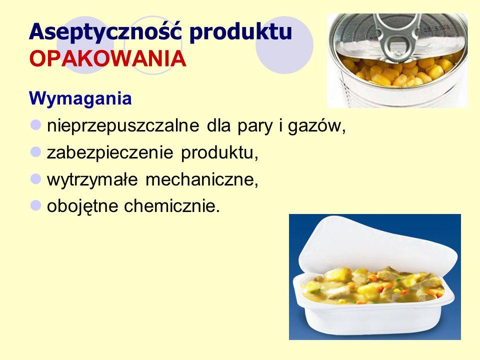 Aseptyczność produktu OPAKOWANIA Wymagania nieprzepuszczalne dla pary i gazów, zabezpieczenie produktu, wytrzymałe mechaniczne, obojętne chemicznie.