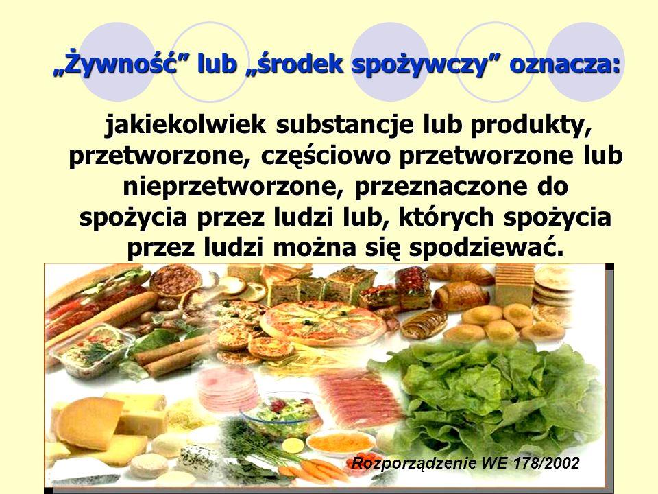 jakiekolwiek substancje lub produkty, przetworzone, częściowo przetworzone lub nieprzetworzone, przeznaczone do spożycia przez ludzi lub, których spoż