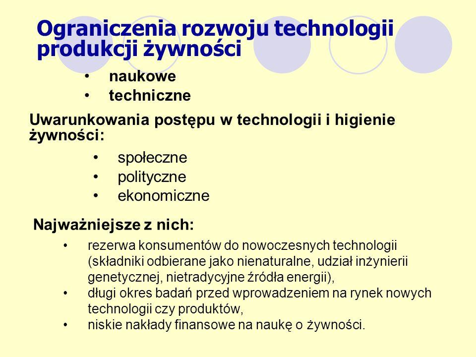 Uwarunkowania postępu w technologii i higienie żywności: Najważniejsze z nich: Ograniczenia rozwoju technologii produkcji żywności naukowe techniczne