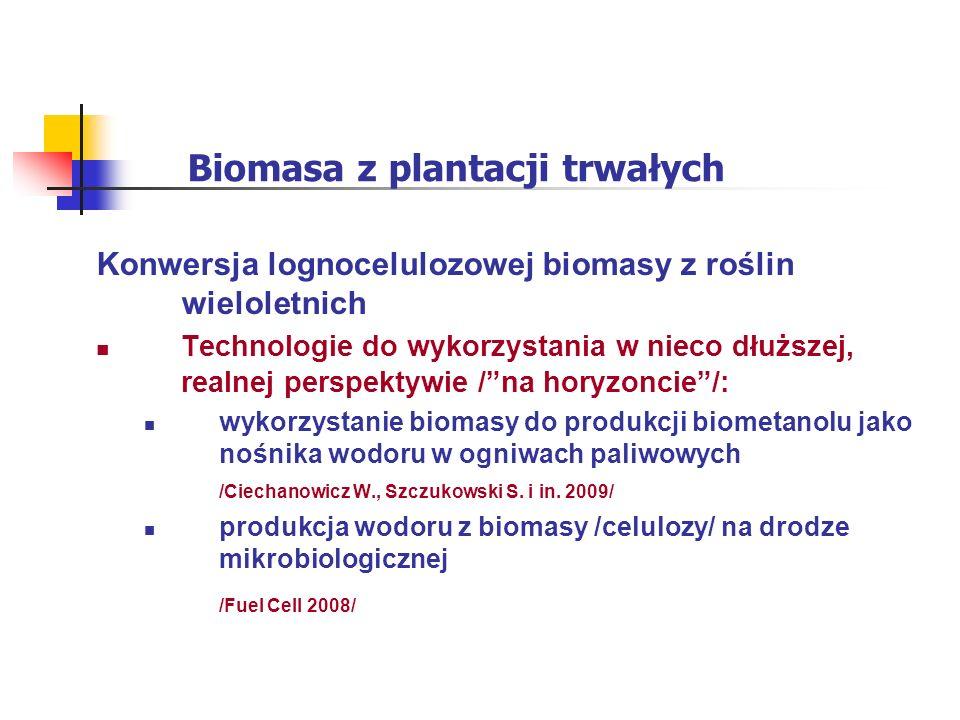 Biomasa z plantacji trwałych Konwersja lognocelulozowej biomasy z roślin wieloletnich Technologie do wykorzystania w nieco dłuższej, realnej perspektywie /na horyzoncie/: wykorzystanie biomasy do produkcji biometanolu jako nośnika wodoru w ogniwach paliwowych /Ciechanowicz W., Szczukowski S.