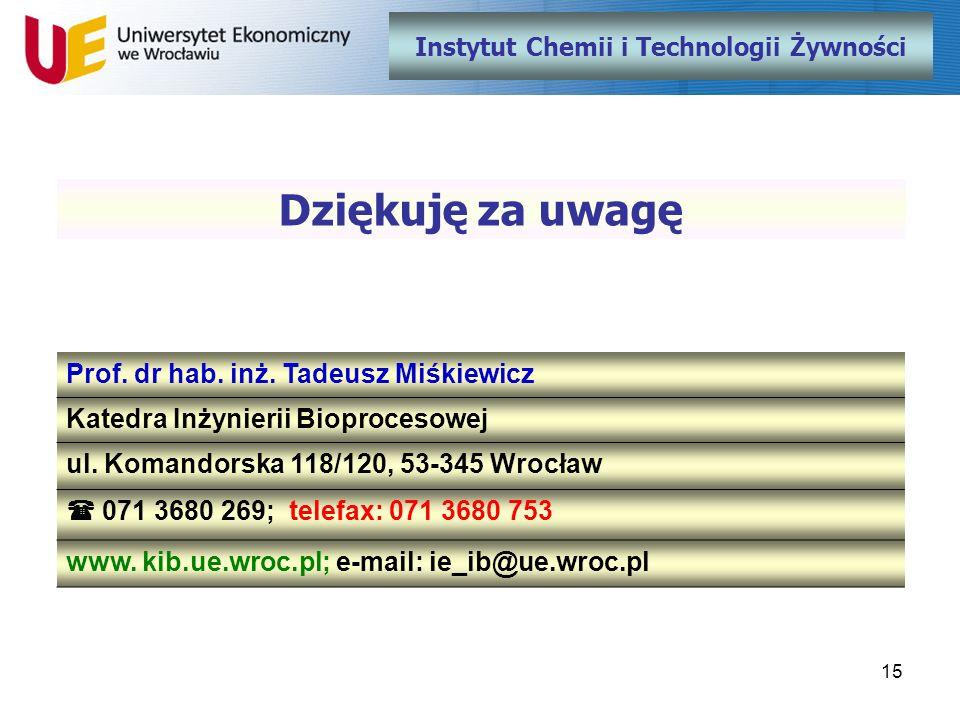15 Instytut Chemii i Technologii Żywności Dziękuję za uwagę Prof. dr hab. inż. Tadeusz Miśkiewicz Katedra Inżynierii Bioprocesowej ul. Komandorska 118
