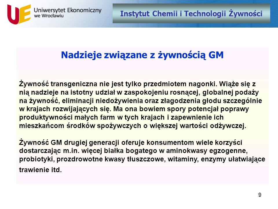 9 Instytut Chemii i Technologii Żywności Nadzieje związane z żywnością GM Żywność transgeniczna nie jest tylko przedmiotem nagonki. Wiąże się z nią na