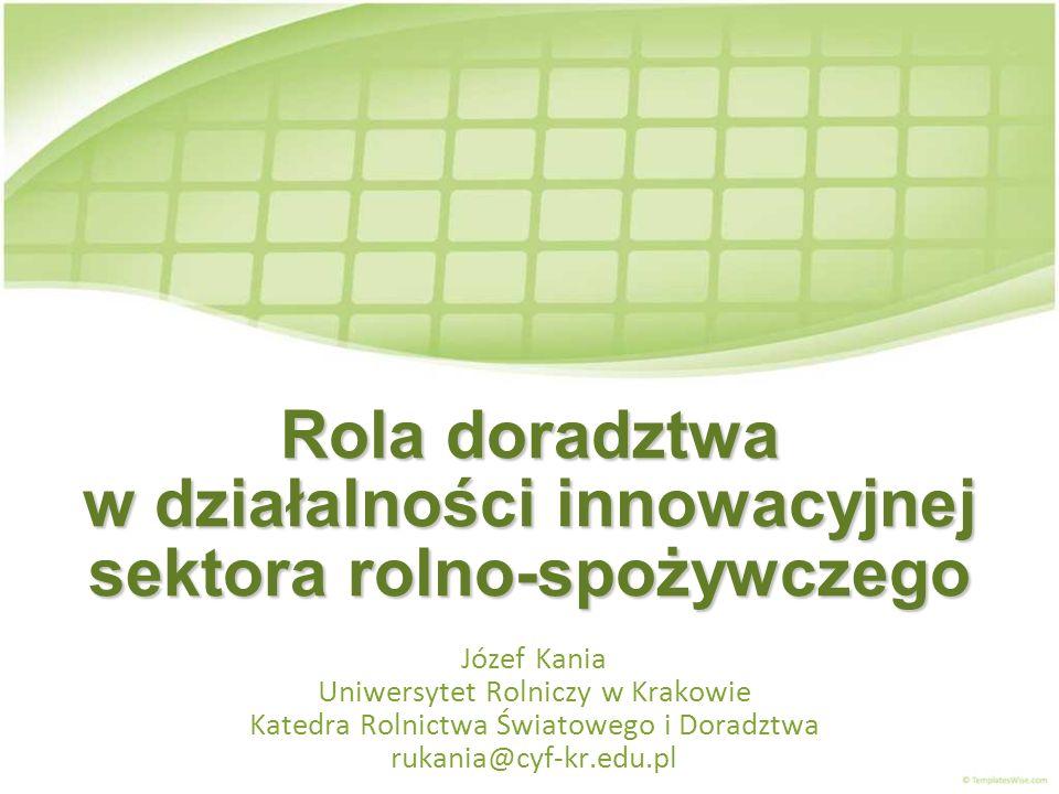 Rola doradztwa w działalności innowacyjnej sektora rolno-spożywczego Józef Kania Uniwersytet Rolniczy w Krakowie Katedra Rolnictwa Światowego i Doradz