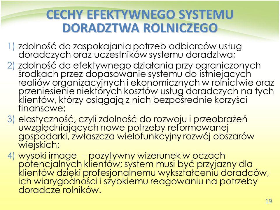 19 CECHY EFEKTYWNEGO SYSTEMU DORADZTWA ROLNICZEGO 1)zdolność do zaspokajania potrzeb odbiorców usług doradczych oraz uczestników systemu doradztwa; 2)