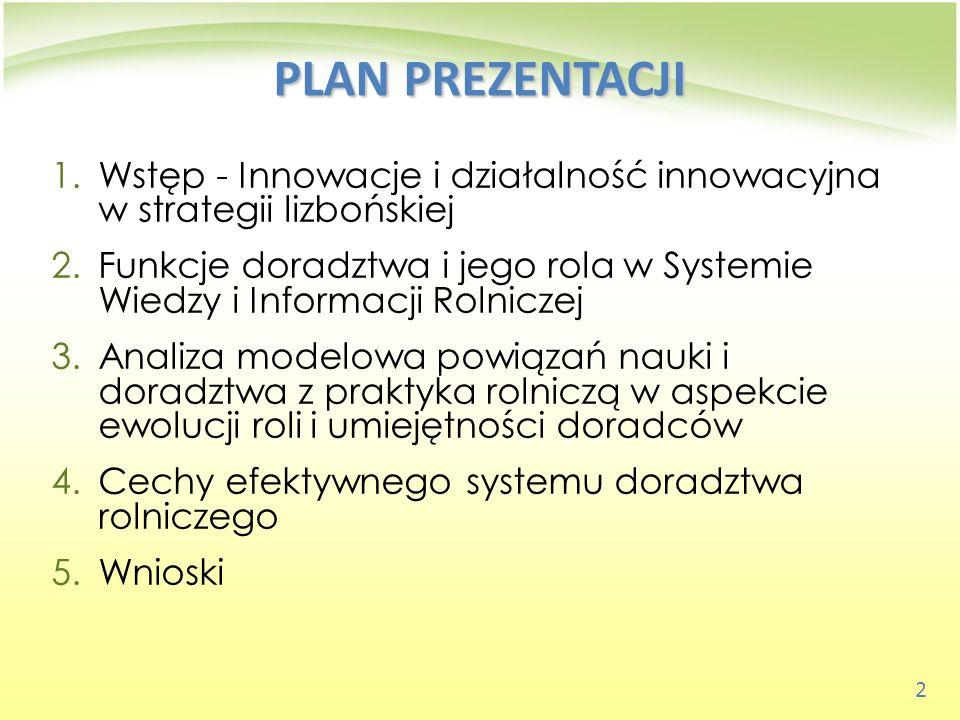 23 WNIOSKI 2)Globalizująca się gospodarka żywnościowa stawia nowe, konkurencyjne wyzwania przed wszystkimi ogniwami Systemu Wiedzy i Informacji Rolniczej w Polsce.