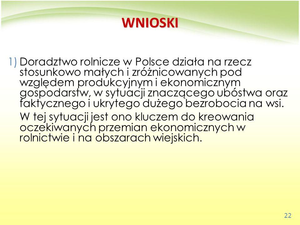 22 WNIOSKI 1)Doradztwo rolnicze w Polsce działa na rzecz stosunkowo małych i zróżnicowanych pod względem produkcyjnym i ekonomicznym gospodarstw, w sy