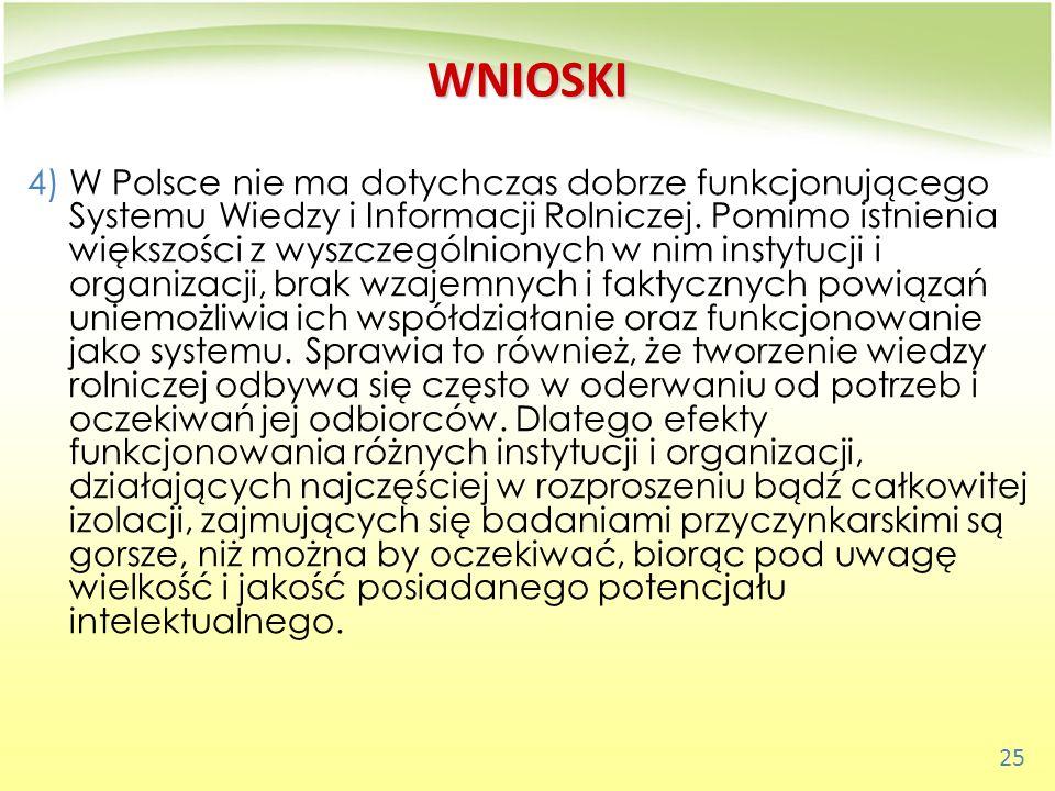 25 WNIOSKI 4)W Polsce nie ma dotychczas dobrze funkcjonującego Systemu Wiedzy i Informacji Rolniczej. Pomimo istnienia większości z wyszczególnionych