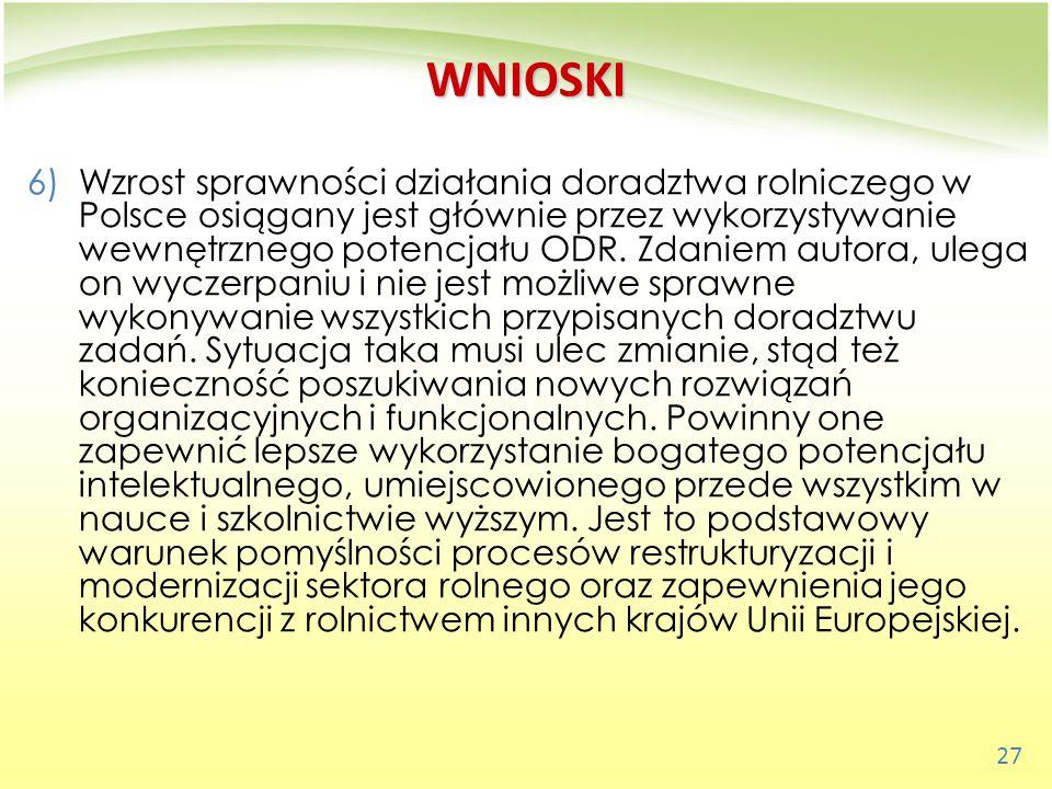 27 WNIOSKI 6)Wzrost sprawności działania doradztwa rolniczego w Polsce osiągany jest głównie przez wykorzystywanie wewnętrznego potencjału ODR. Zdanie