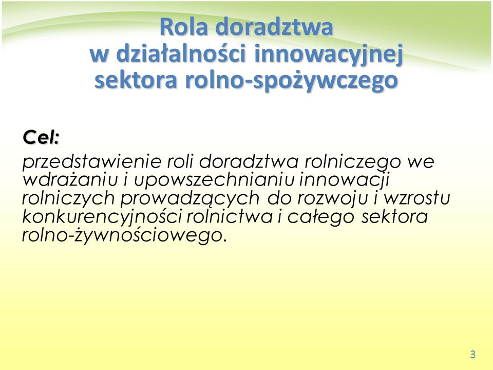 14 Modele powiązań doradztwa rolniczego z nauką i praktyką rolniczą Model transferu technologii (TOT) Znany w Polsce jako model badawczo- wdrożeniowo-upowszechnieniowy, obejmuje: badania podstawowe badania stosowane rozwój technik i technologii wdrażanie upowszechnianie potrzebni doradcy – specjaliści