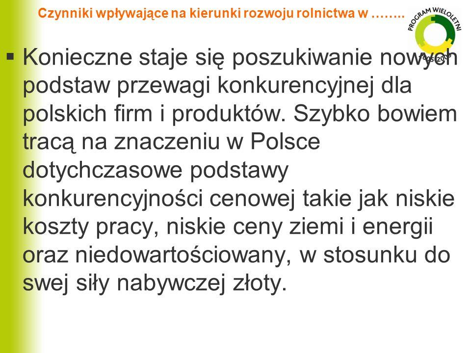 Czynniki wpływające na kierunki rozwoju rolnictwa w …….. Konieczne staje się poszukiwanie nowych podstaw przewagi konkurencyjnej dla polskich firm i p
