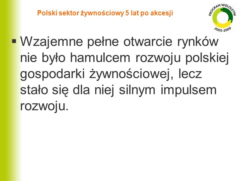 Polski sektor żywnościowy 5 lat po akcesji Wzajemne pełne otwarcie rynków nie było hamulcem rozwoju polskiej gospodarki żywnościowej, lecz stało się d