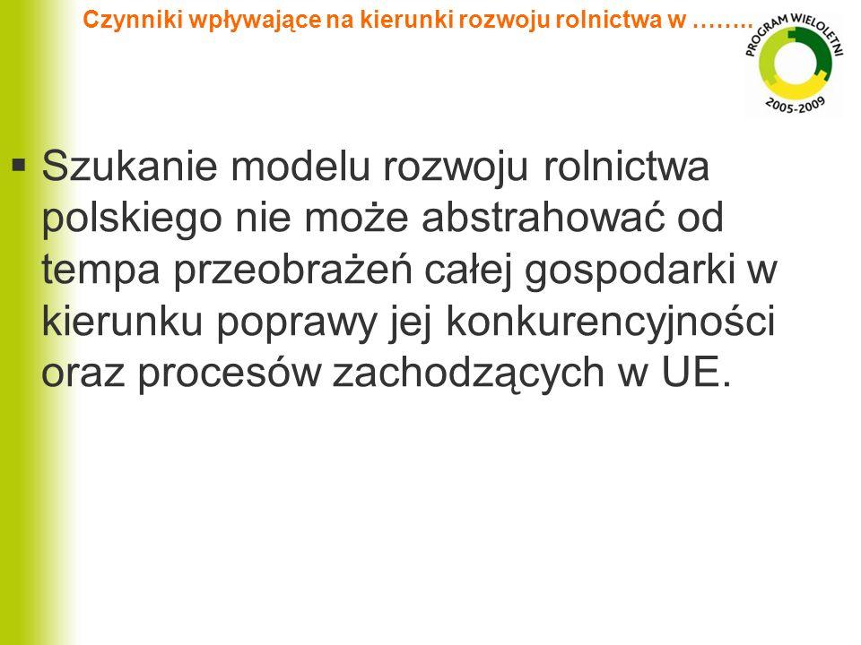 Czynniki wpływające na kierunki rozwoju rolnictwa w …….. Szukanie modelu rozwoju rolnictwa polskiego nie może abstrahować od tempa przeobrażeń całej g