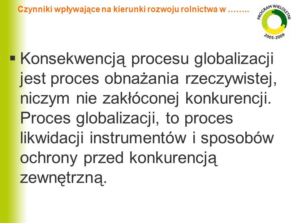 Czynniki wpływające na kierunki rozwoju rolnictwa w …….. Konsekwencją procesu globalizacji jest proces obnażania rzeczywistej, niczym nie zakłóconej k