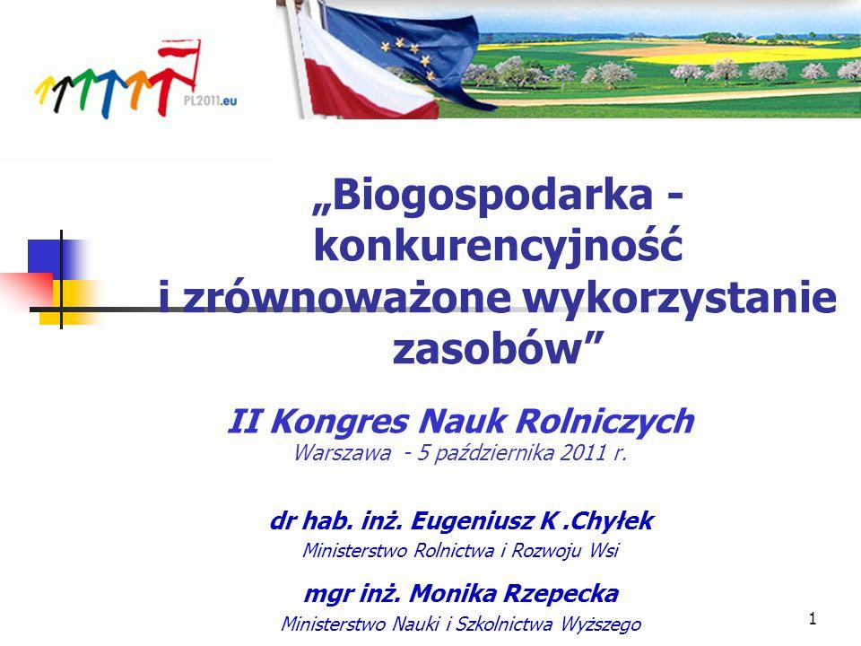 Biogospodarka - konkurencyjność i zrównoważone wykorzystanie zasobów II Kongres Nauk Rolniczych Warszawa - 5 października 2011 r. dr hab. inż. Eugeniu
