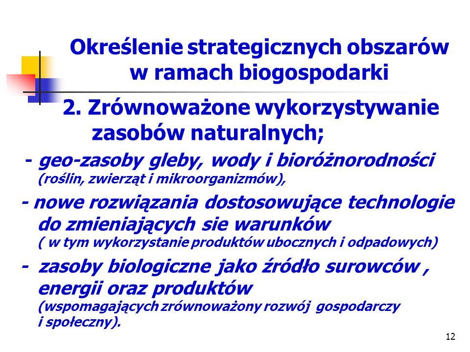 Określenie strategicznych obszarów w ramach biogospodarki 2. Zrównoważone wykorzystywanie zasobów naturalnych; - geo-zasoby gleby, wody i bioróżnorodn