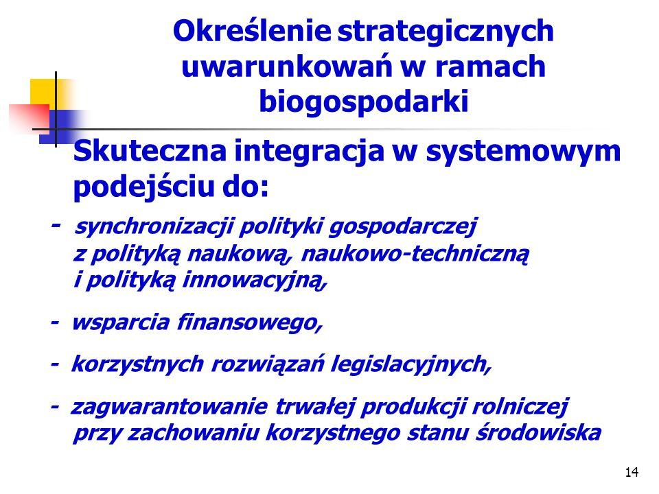 Określenie strategicznych uwarunkowań w ramach biogospodarki Skuteczna integracja w systemowym podejściu do: - synchronizacji polityki gospodarczej z