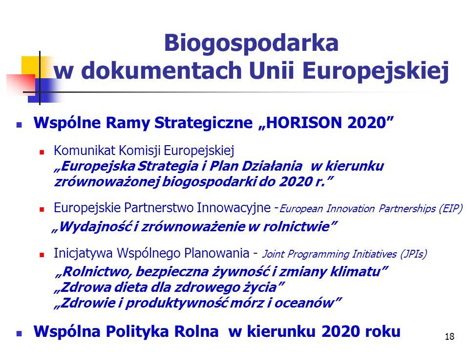 Biogospodarka w dokumentach Unii Europejskiej Wspólne Ramy Strategiczne HORISON 2020 Komunikat Komisji Europejskiej Europejska Strategia i Plan Działa