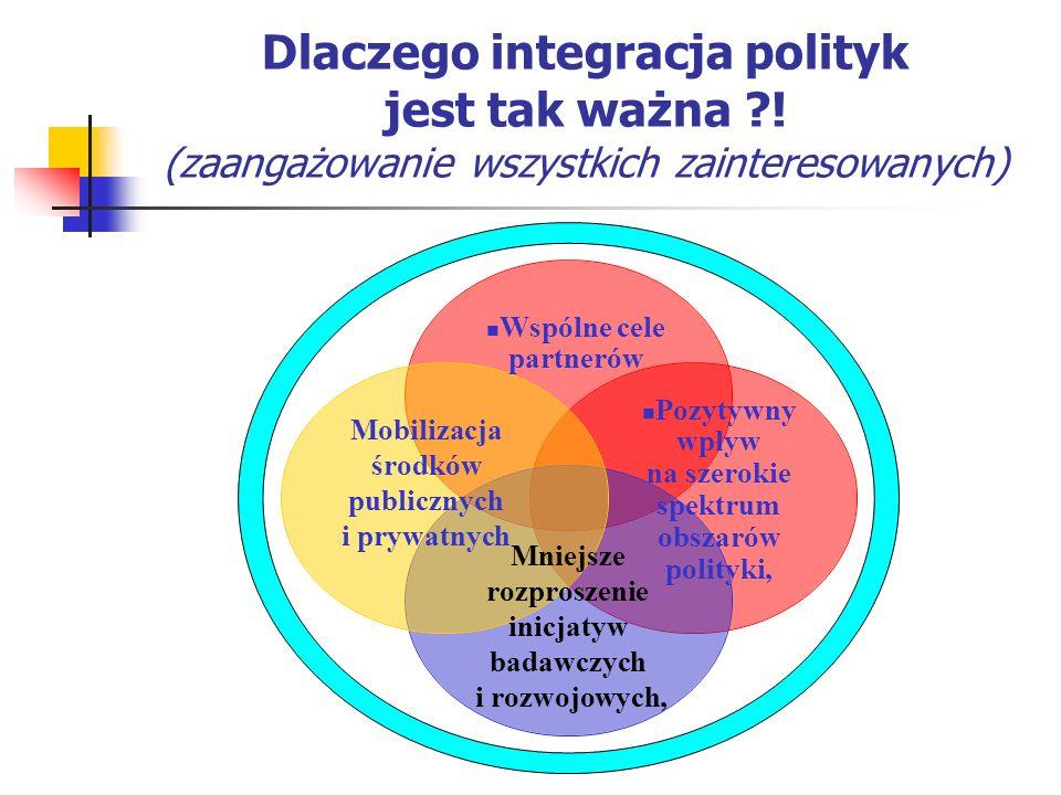Dlaczego integracja polityk jest tak ważna ?! (zaangażowanie wszystkich zainteresowanych) Wspólne cele partnerów Mobilizacja środków publicznych i pry