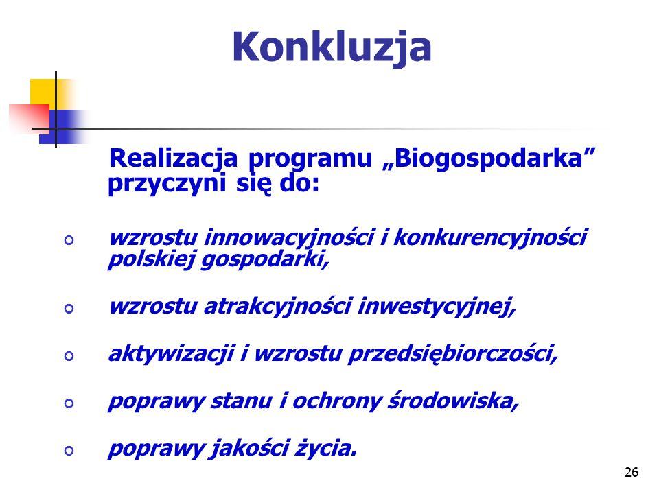 Konkluzja Realizacja programu Biogospodarka przyczyni się do: wzrostu innowacyjności i konkurencyjności polskiej gospodarki, wzrostu atrakcyjności inw