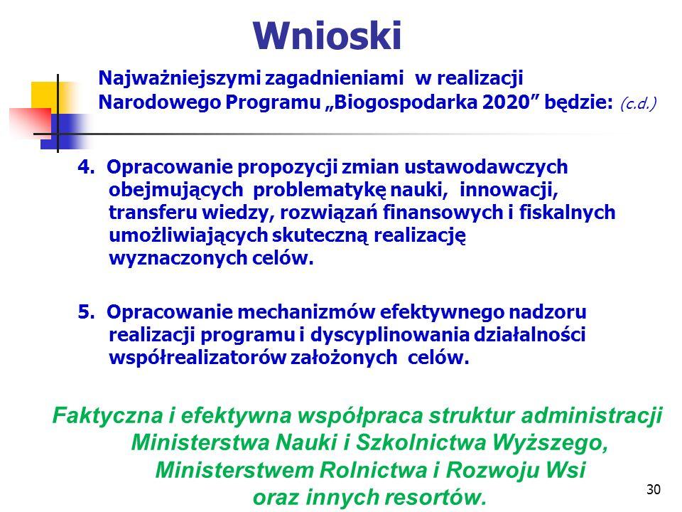 Wnioski Najważniejszymi zagadnieniami w realizacji Narodowego Programu Biogospodarka 2020 będzie: (c.d.) 4. Opracowanie propozycji zmian ustawodawczyc