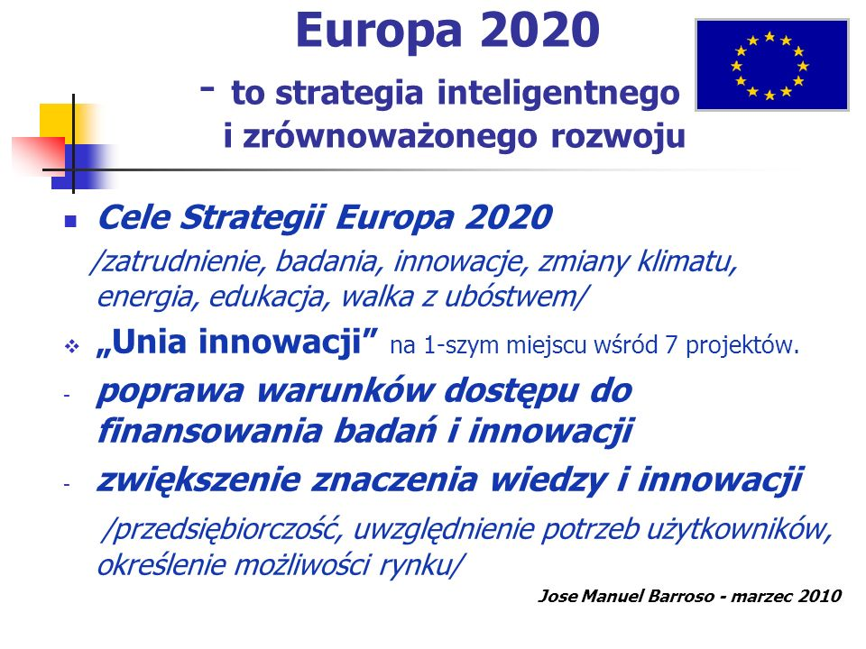 Europa 2020 - to strategia inteligentnego i zrównoważonego rozwoju Cele Strategii Europa 2020 /zatrudnienie, badania, innowacje, zmiany klimatu, energ