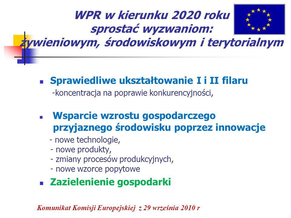 WPR w kierunku 2020 roku sprostać wyzwaniom: żywieniowym, środowiskowym i terytorialnym Sprawiedliwe ukształtowanie I i II filaru -koncentracja na pop