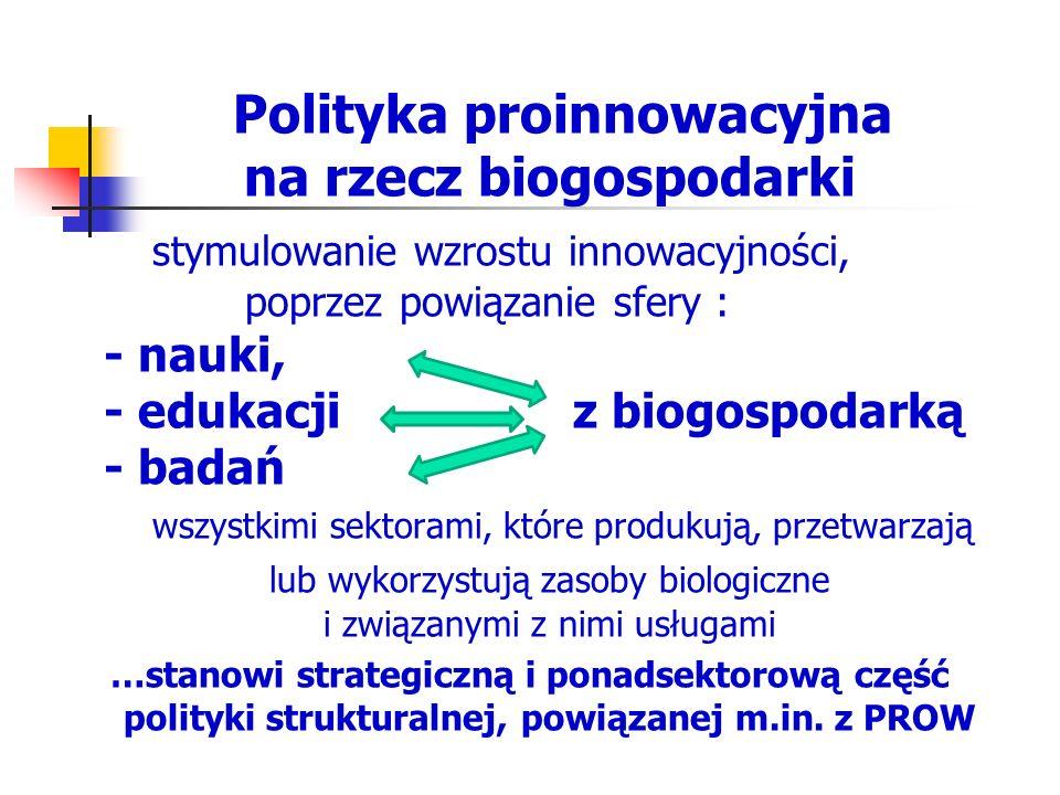 Polityka proinnowacyjna na rzecz biogospodarki stymulowanie wzrostu innowacyjności, poprzez powiązanie sfery : - nauki, - edukacji z biogospodarką - b