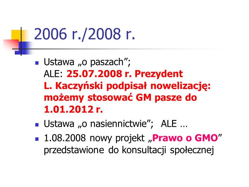 2006 r./2008 r. Ustawa o paszach; ALE: 25.07.2008 r. Prezydent L. Kaczyński podpisał nowelizację: możemy stosować GM pasze do 1.01.2012 r. Ustawa o na