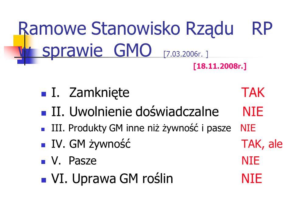 Ramowe Stanowisko Rządu RP w sprawie GMO [7.03.2006r. ] [18.11.2008r.] I.Zamknięte TAK II.Uwolnienie doświadczalne NIE III. Produkty GM inne niż żywno