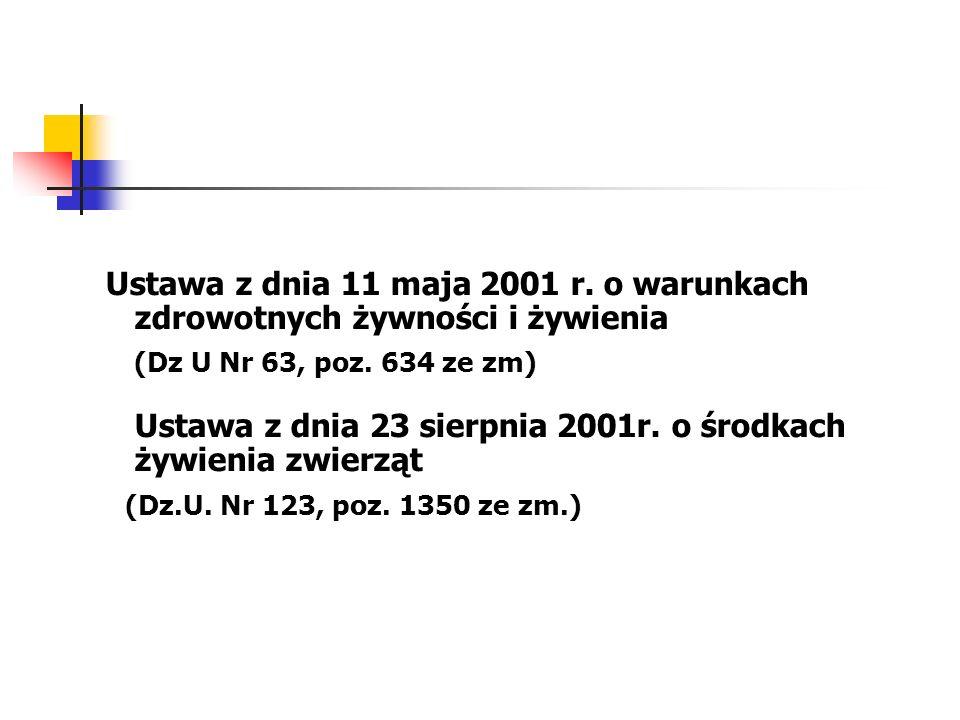 Ustawa z dnia 11 maja 2001 r. o warunkach zdrowotnych żywności i żywienia (Dz U Nr 63, poz. 634 ze zm) Ustawa z dnia 23 sierpnia 2001r. o środkach żyw