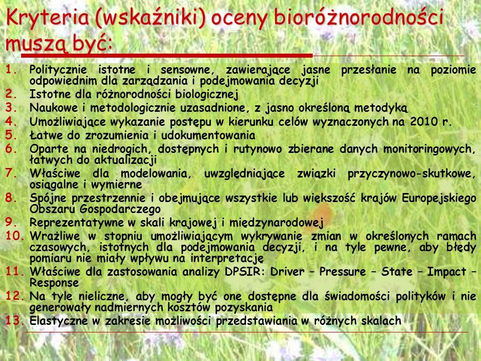 Kryteria (wskaźniki) oceny bioróżnorodności muszą być: 1. Politycznie istotne i sensowne, zawierające jasne przesłanie na poziomie odpowiednim dla zar