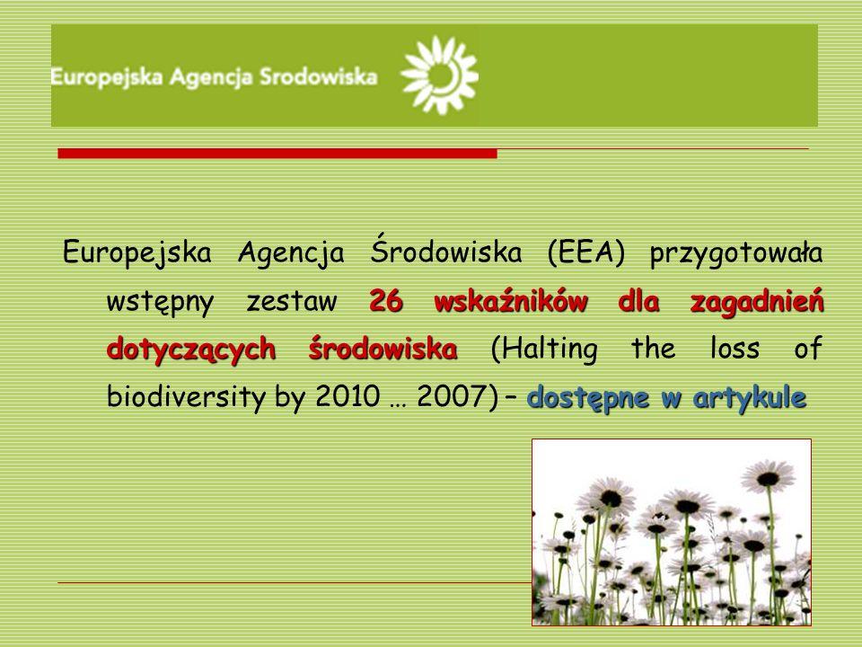 26 wskaźników dla zagadnień dotyczących środowiska dostępne w artykule Europejska Agencja Środowiska (EEA) przygotowała wstępny zestaw 26 wskaźników d