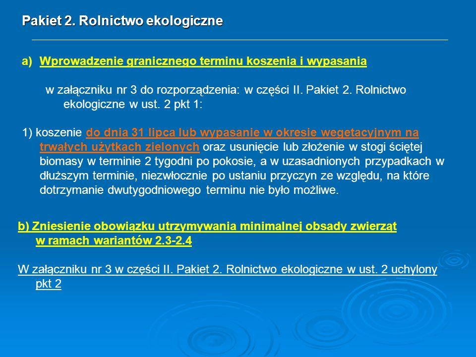 Pakiet 2. Rolnictwo ekologiczne a)Wprowadzenie granicznego terminu koszenia i wypasania w załączniku nr 3 do rozporządzenia: w części II. Pakiet 2. Ro