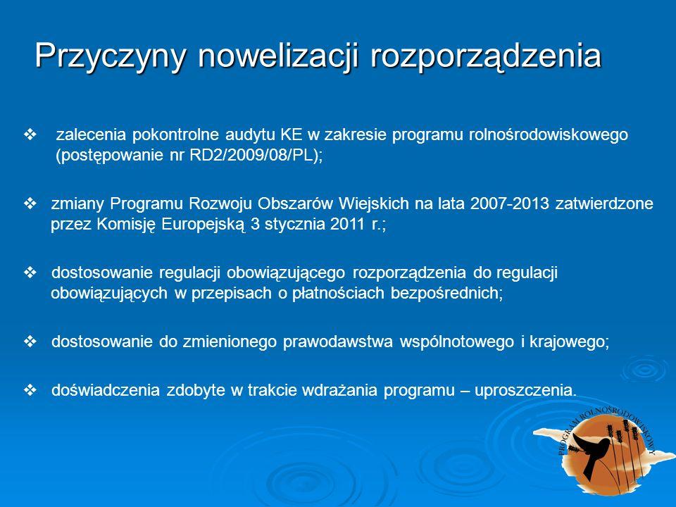 Przyczyny nowelizacji rozporządzenia zalecenia pokontrolne audytu KE w zakresie programu rolnośrodowiskowego (postępowanie nr RD2/2009/08/PL); zmiany