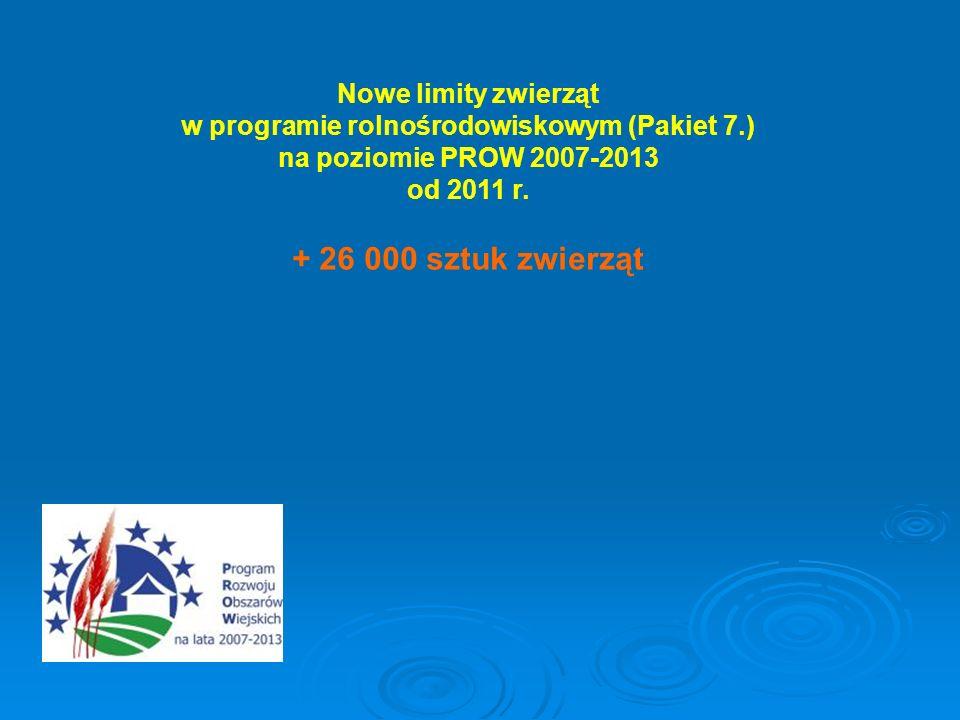 Nowe limity zwierząt w programie rolnośrodowiskowym (Pakiet 7.) na poziomie PROW 2007-2013 od 2011 r. + 26 000 sztuk zwierząt