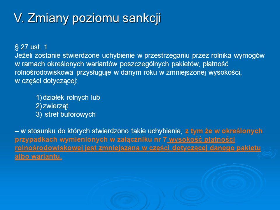 V. Zmiany poziomu sankcji § 27 ust. 1 Jeżeli zostanie stwierdzone uchybienie w przestrzeganiu przez rolnika wymogów w ramach określonych wariantów pos