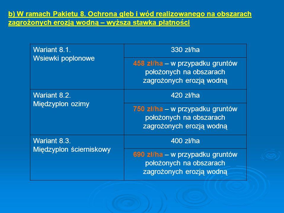 Wariant 8.1. Wsiewki poplonowe 330 zł/ha 458 zł/ha – w przypadku gruntów położonych na obszarach zagrożonych erozją wodną Wariant 8.2. Międzyplon ozim