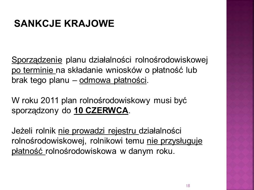 Sporządzenie planu działalności rolnośrodowiskowej po terminie na składanie wniosków o płatność lub brak tego planu – odmowa płatności. W roku 2011 pl