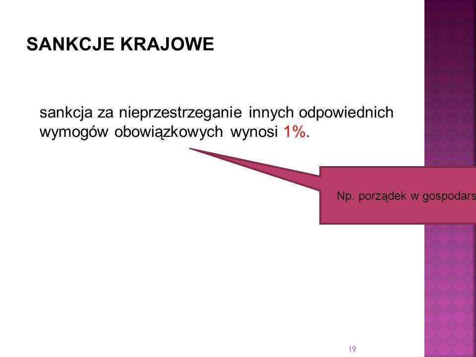 sankcja za nieprzestrzeganie innych odpowiednich wymogów obowiązkowych wynosi 1%. Np. porządek w gospodarstwie 19