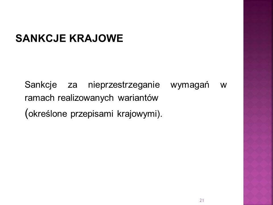 Sankcje za nieprzestrzeganie wymagań w ramach realizowanych wariantów ( określone przepisami krajowymi). 21