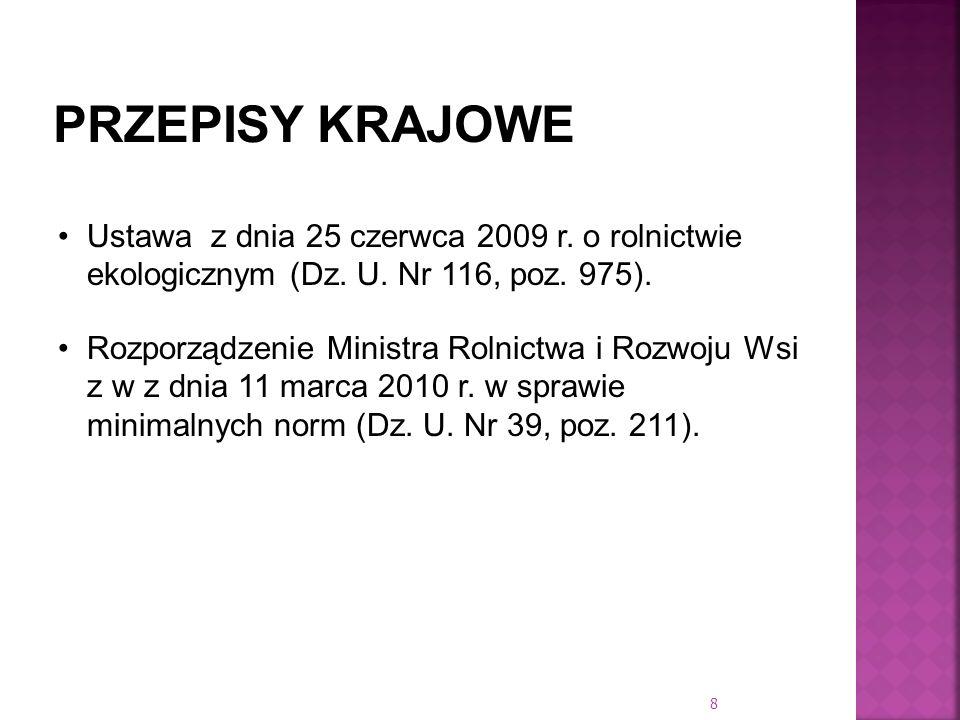 Ustawa z dnia 25 czerwca 2009 r. o rolnictwie ekologicznym (Dz. U. Nr 116, poz. 975). Rozporządzenie Ministra Rolnictwa i Rozwoju Wsi z w z dnia 11 ma