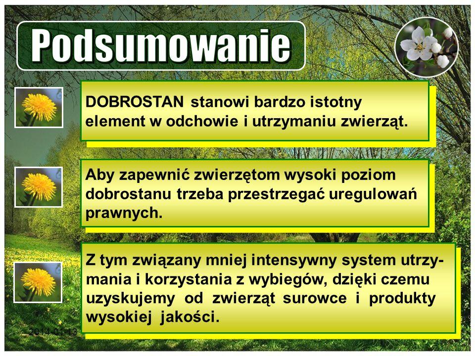 2014-01-1317 DOBROSTAN stanowi bardzo istotny element w odchowie i utrzymaniu zwierząt. Aby zapewnić zwierzętom wysoki poziom dobrostanu trzeba przest