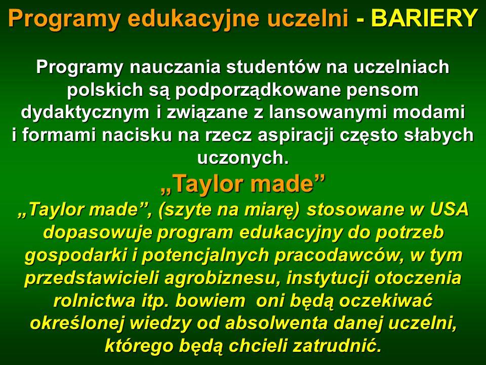 Programy edukacyjne uczelni - BARIERY Programy nauczania studentów na uczelniach polskich są podporządkowane pensom dydaktycznym i związane z lansowan