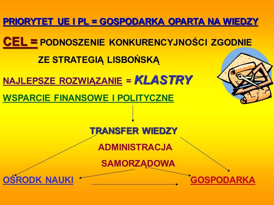 PRIORYTET UE I PL = GOSPODARKA OPARTA NA WIEDZY CEL = CEL = PODNOSZENIE KONKURENCYJNOŚCI ZGODNIE ZE STRATEGIĄ LISBOŃSKĄ KLASTRY NAJLEPSZE ROZWIĄZANIE