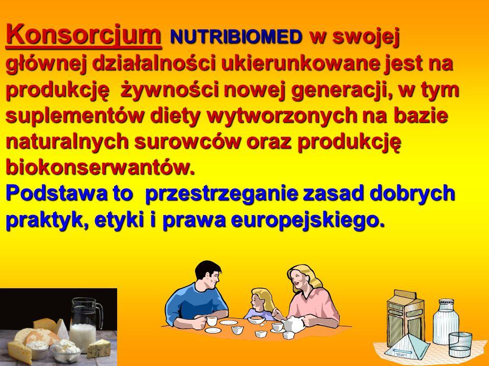 Konsorcjum NUTRIBIOMED w swojej głównej działalności ukierunkowane jest na produkcję żywności nowej generacji, w tym suplementów diety wytworzonych na